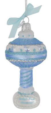 "Blue Baby's 1st Christmas Rattle Glass Ornament, 4 1/4"", KANB0894"