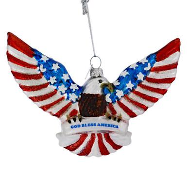 God Bless America Bald Eagle Glass Ornament
