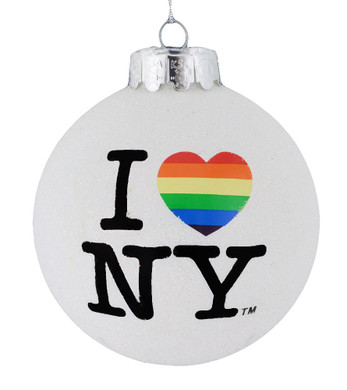 Rainbow I Love New York Glass Ornament