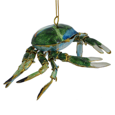 Cloisonne Crab Ornament, Gift - Green
