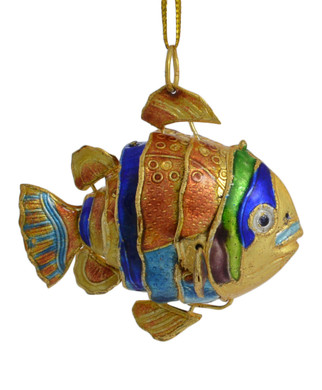 Cloisonne Tropical Fish Ornament Small Golden
