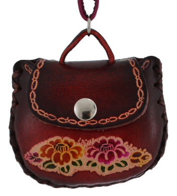 Leather Purse Ornament - Cranberry Color