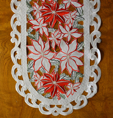 "Red White Poinsettia Christmas Table Runner,16 x 36"", SR13089"