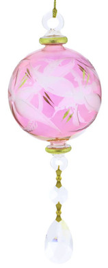 Frosted Round with Crystals Drop Mouth-blown Egyptian Glass Ornament - Pink