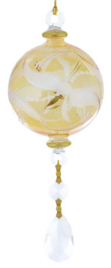 Frosted Round with Crystal Drop Mouth-blown Egyptian Glass Ornament - Yellow