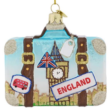 Europe Travel England Suitcase Glass Ornament
