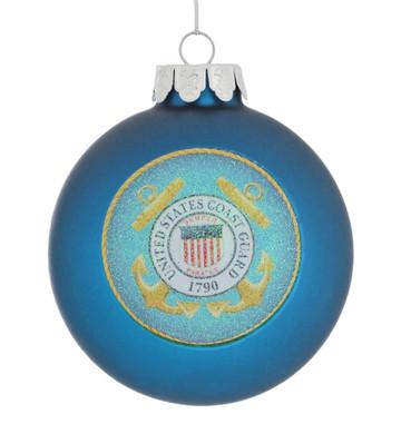 US Coast Guard Round Glass Ornament