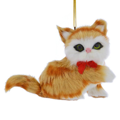 Orange Plush Kitten Ornament