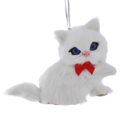 White Plush Kitten Ornament