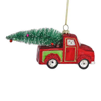 Old Red and Green Pickup Truck Glass Ornament