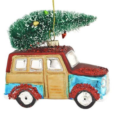 Woody Wagon with Tree Glass Ornament
