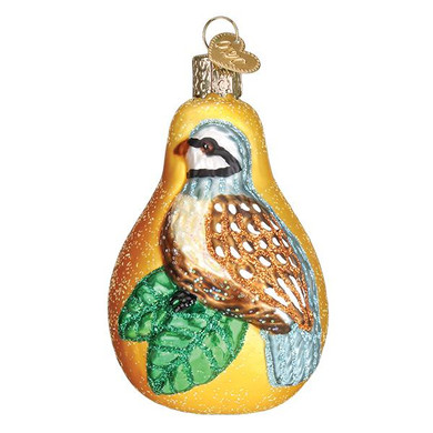 Old World Christmas Partridge in a Pear Glass Ornament 16070