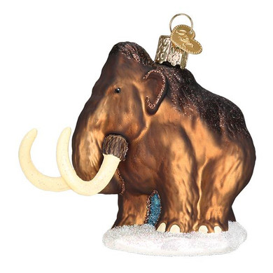 Woolly Mammoth Glass Ornament