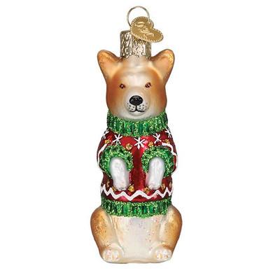 Christmas Corgi Glass Ornament