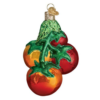 Tomatoes On Vine Glass Ornament
