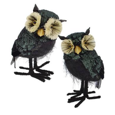 Mid-Sized Bristle Eyes Black Owl Halloween Figurine