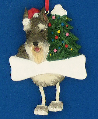 Personalized Schnauzer Ornament ears cropped salt and pepper
