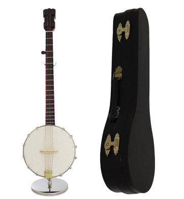 """9"""" Mini Banjo 3 pc Gift Set - Decor with Display Stand, Case"""