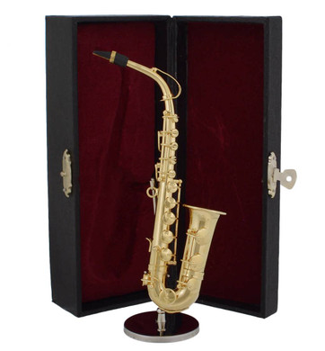Mini Gold Plated Saxophone Gift 3 pc Set Decor - Display Stand, Case