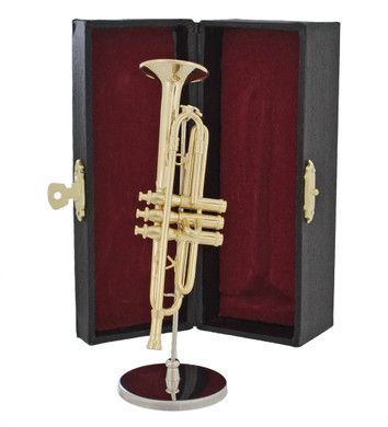Mini Trumpet 3 pc Gift Set - Decor with Display Stand, Case