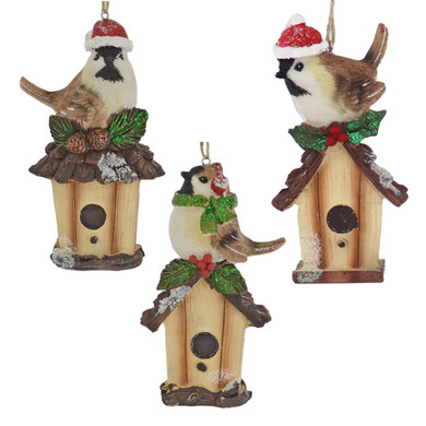 Holiday Bird on Birdhouse Ornament
