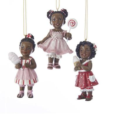 "Carnival Treat African American Girl Ornament, 3 1/2"", KAC7674"