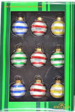 "Mini - Small Decorated Stripes Glass Ornaments 9 pc Set, 1 1/2"", KAGG0320-stripes"