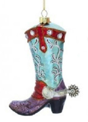 "Purple Blue Cowboy Boot with Spur Glass Ornament, 5"", KANB1479-p"