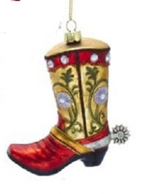 "Red Yellow Cowboy Boot with Spur Glass Ornament, 4 1/4"", KANB1479-r"