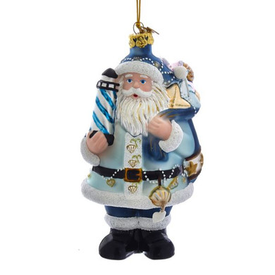 "Beach Lighthouse Santa Glass Ornament, 5 3/8"", KANB1487"