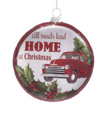 """Red Silver Disk All Roads Lead Home Glass Ornament, 4 1/8"""", KATD1609"""