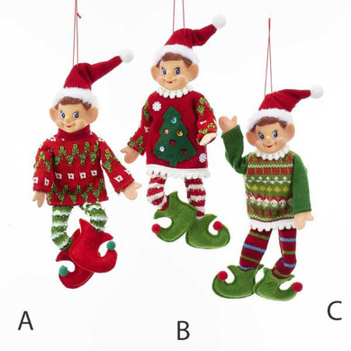 "Ugly Christmas Sweater Elf Doll Ornament - Shelf Sitter, 10-12"", KATD1621"