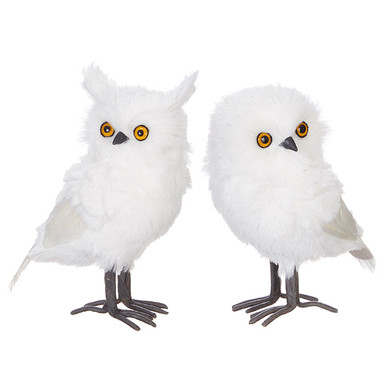 """Soft Long White Fibers Owl Figurine with Feathers - Small, 8 1/4 - 8 1/2"""", RA3903430"""