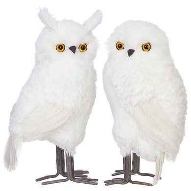 "Soft Long White Fibers Owl Figurine with Feathers -Extra Large, 13 1/2 - 15"", RA3903431"