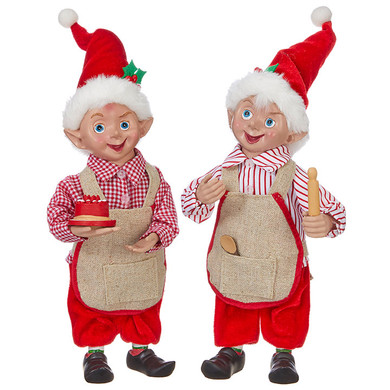 """Santa's Workshop Bakery Elf Doll Figurine with bendable arms, hat, 9 1/4 - 12"""", RA3915505"""