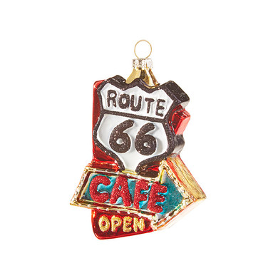 """Route 66 Cafe Glass Ornament, 4 3/4"""", RA3916302"""