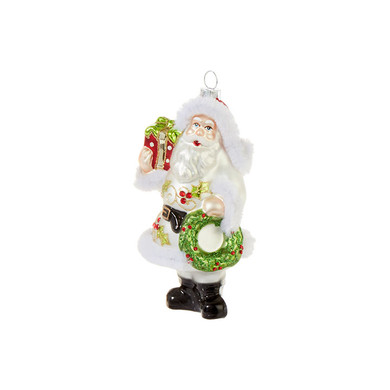 "Holly and Berries White Coat Santa Glass Ornament, 5 1/2"", RA3924534"