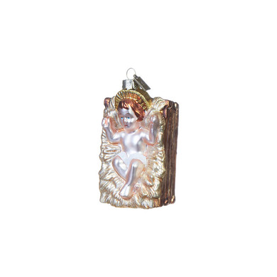 """Jesus with Halo in Manger Glass Ornament, 3 3/4"""", RA3953007"""