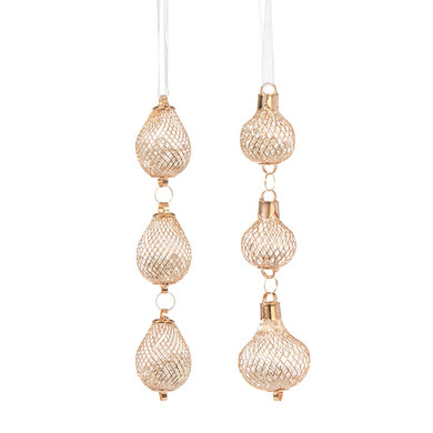 "3 Tier Filled Gold Plated Mesh Ornaments Drops, 6 3/4 - 7"", RA3960907"