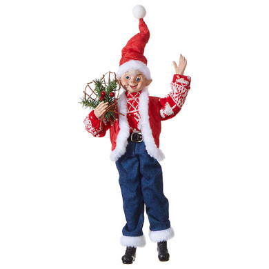 "Large Sweater and Jeans Posable Elf Doll Ornament or Shelf Sitter - Figurine, 16 - 20 1/2"", RA3902258"