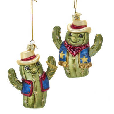 "Smiling Cowboy Cactus Glass Ornament,4 3/8"", KANB1440"