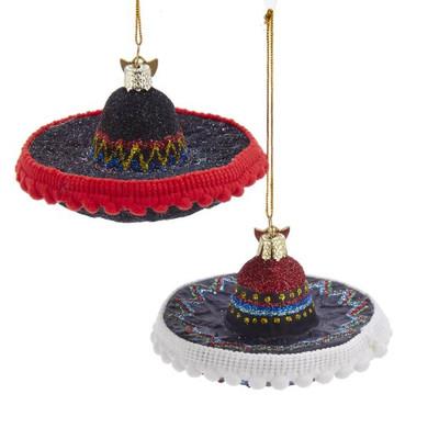 "Fancy Sombrero Glass Ornament, 2 x 3 1/4"", KANB1453"