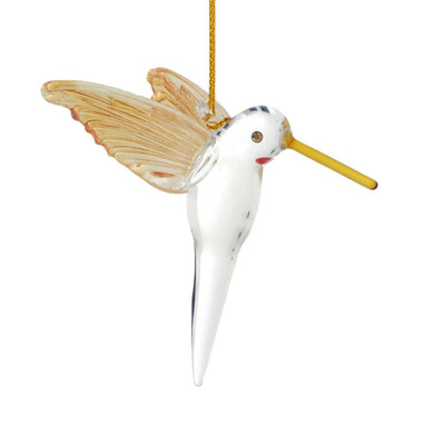 """Gold with Blue Tail Hummingbird Mouth-blown Egyptian Glass Ornament , 2 5/8"""", EM13546"""