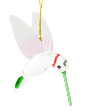 "Hummingbird Mouth-Blown Egyptian Glass Ornament, 3"", white, pink, green, EM13548"