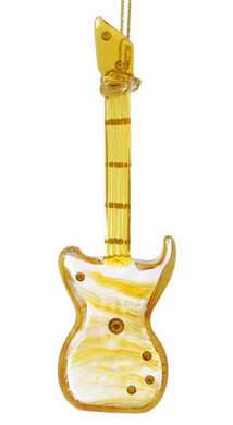 Transparent Mouth-blown Egyptian Glass Electric Guitar Ornament