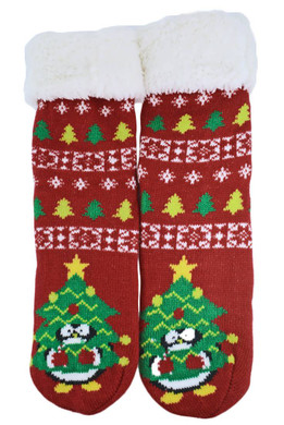 Women's Lined Slipper Bootie Socks non-slip - Penguin