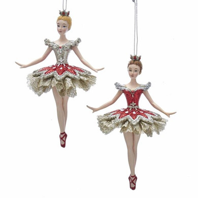 "Ruby Red and Platinum Ballerina Ornament, 5 3/4"", KAE0340"
