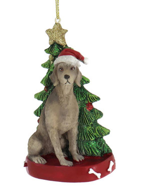Weimaraner with Christmas Tree Ornament