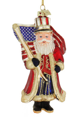 Glitzy Patriotic USA Santa Glass Ornament