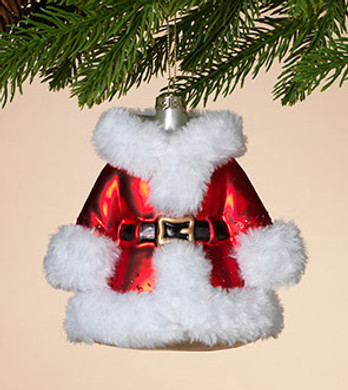 "Fuzzy White Trim Ladies Santa Coat Glass Ornament, 5"", ST2505370"
